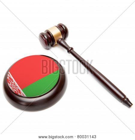 Judge Gavel And Soundboard With National Flag On It - Belarus