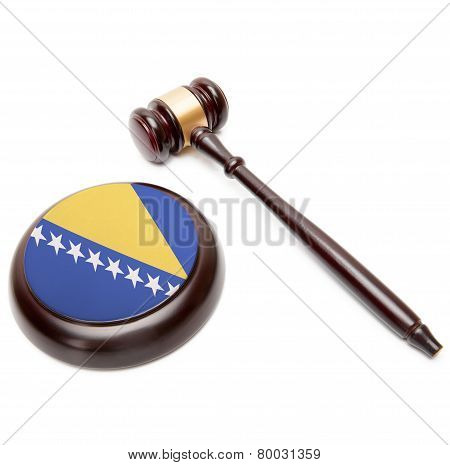 Judge Gavel And Soundboard With National Flag On It - Bosnia And Herzegovina