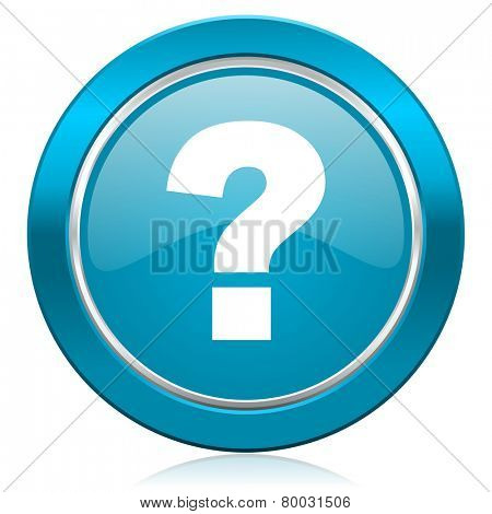 question mark blue icon ask sign