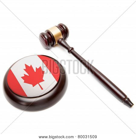 Judge Gavel And Soundboard With National Flag On It - Canada