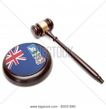 Judge Gavel And Soundboard With National Flag On It - Falkland Islands