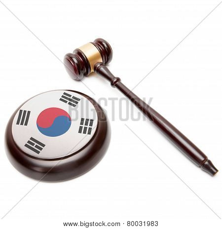 Judge Gavel And Soundboard With National Flag On It - South Korea