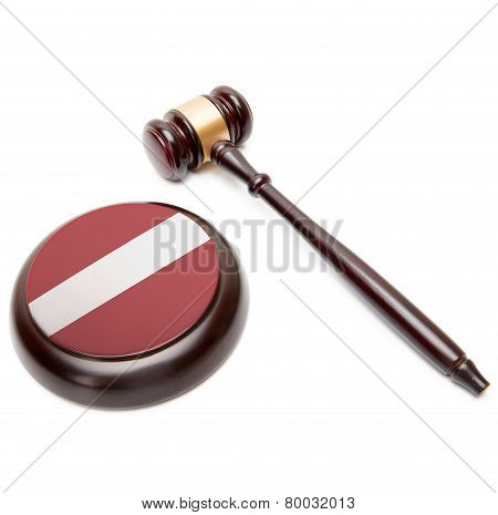 Judge Gavel And Soundboard With National Flag On It - Latvia
