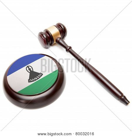 Judge Gavel And Soundboard With National Flag On It - Lesotho
