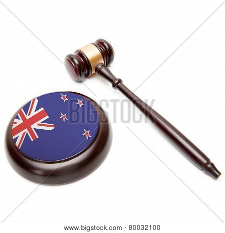 Judge Gavel And Soundboard With National Flag On It - New Zealand
