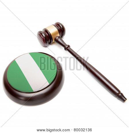 Judge Gavel And Soundboard With National Flag On It - Nigeria