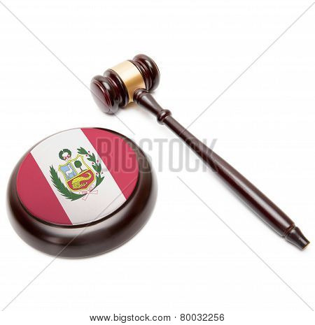 Judge Gavel And Soundboard With National Flag On It - Peru