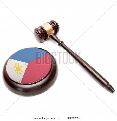 Judge Gavel And Soundboard With National Flag On It - Philippines