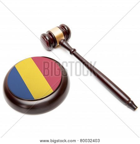 Judge Gavel And Soundboard With National Flag On It - Romania