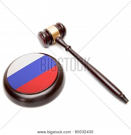 Judge Gavel And Soundboard With National Flag On It - Russia