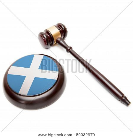 Judge Gavel And Soundboard With National Flag On It - Scotland