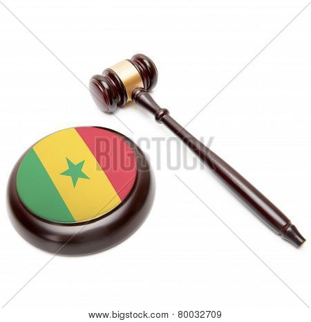 Judge Gavel And Soundboard With National Flag On It - Senegal