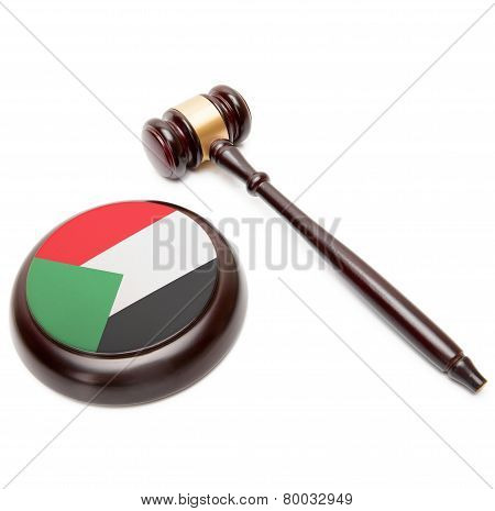Judge Gavel And Soundboard With National Flag On It - Sudan