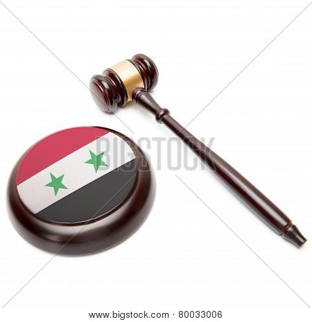 Judge Gavel And Soundboard With National Flag On It - Syria
