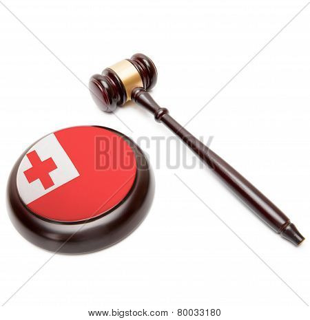 Judge Gavel And Soundboard With National Flag On It - Tonga