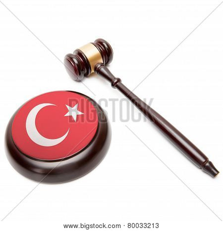 Judge Gavel And Soundboard With National Flag On It - Turkey