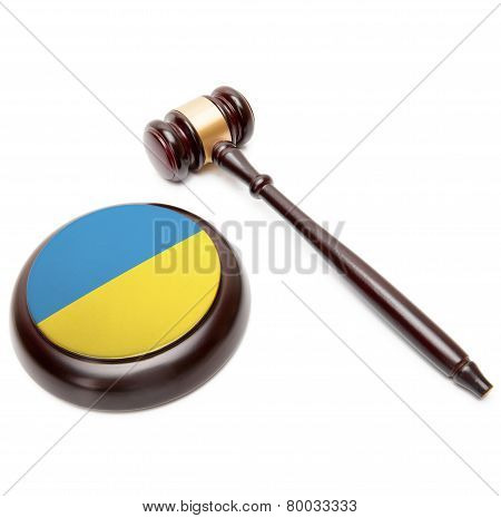Judge Gavel And Soundboard With National Flag On It - Ukraine