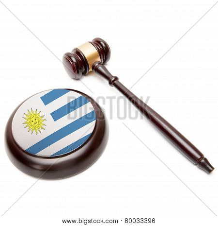 Judge Gavel And Soundboard With National Flag On It - Uruguay