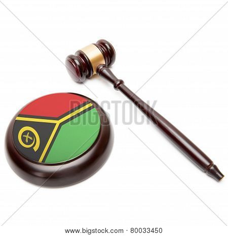 Judge Gavel And Soundboard With National Flag On It - Vanuatu