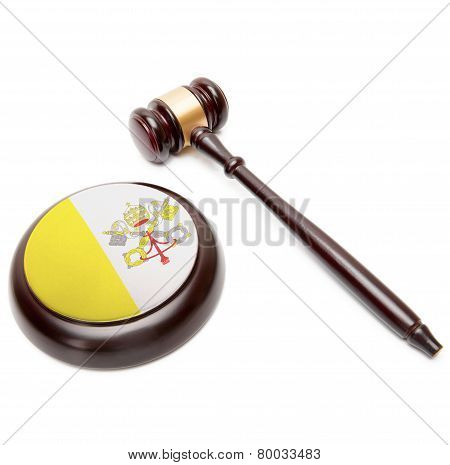 Judge Gavel And Soundboard With National Flag On It - Vatican City State