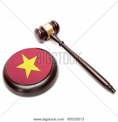 Judge Gavel And Soundboard With National Flag On It - Vietnam