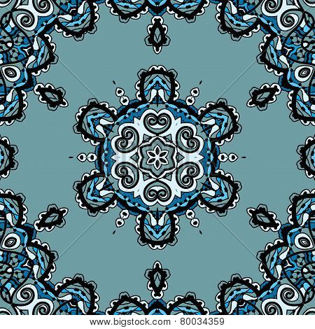 Blue seamless mandala, flayer design in tribal oriental style liginoru