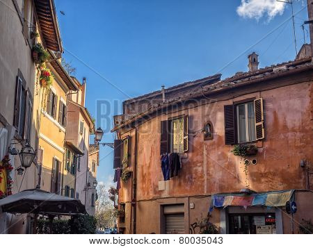 Laundry In Trastevere District Of Rome, Italy.