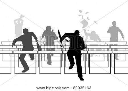 Illustration of businessmen racing over hurdle obstacles
