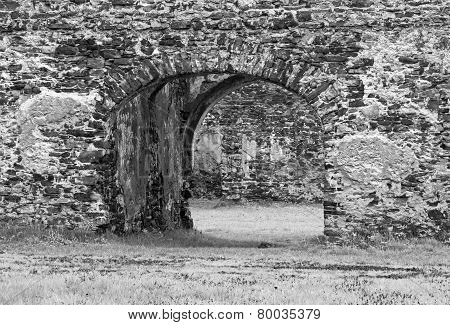 Fragment Of Stone Old Ruins Monochromatic