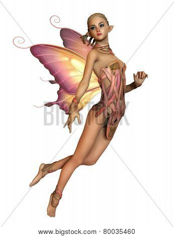 Floating Pink Fairy, 3D Cg Ca, white background