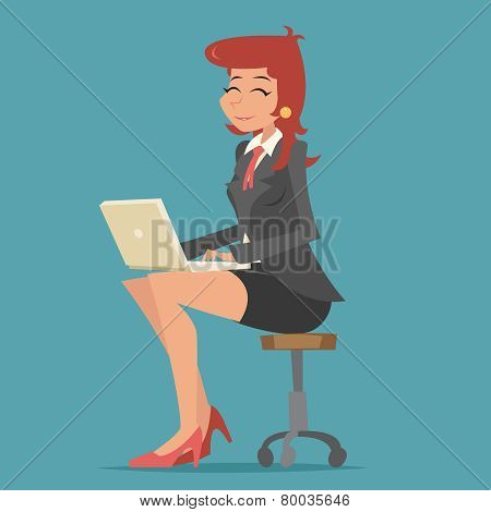 Happy Smiling Business Woman Lady Character Working on Computer Laptop Stylish Background Retro Cart