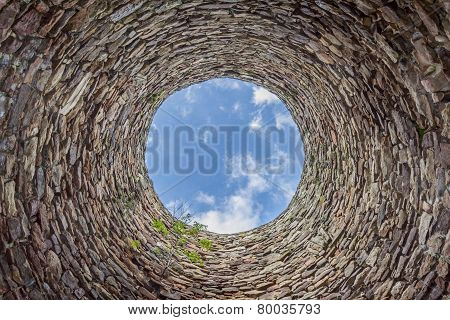 Inside Of Old Industrial Chimney