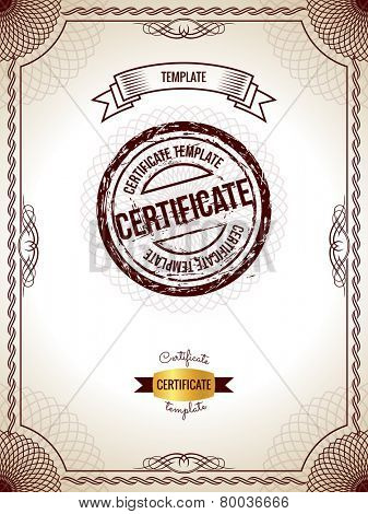 Certificate template. Vector illustration of gold detailed blank certificate