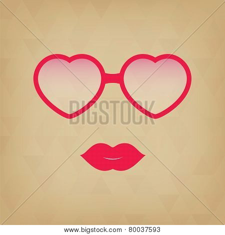 Heart Sunglasses And Lips