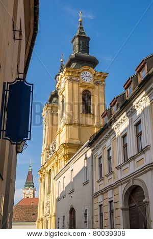 Old Street View In Szekesfehervar Old Town, Hungary.