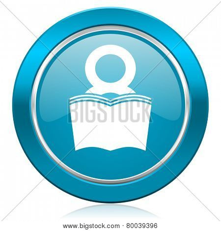 book blue icon reading room sign bookshop symbol
