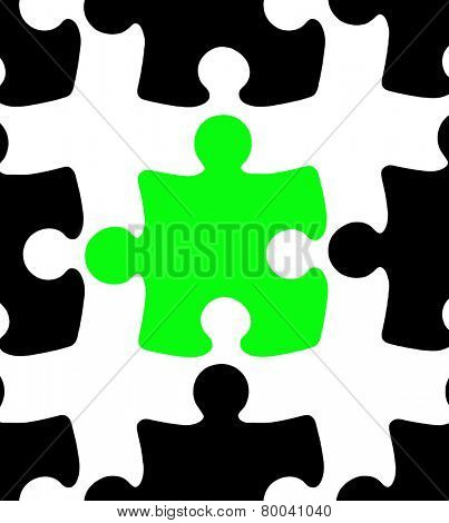Green Jigsaw Puzzle Piece among black pieces on white background