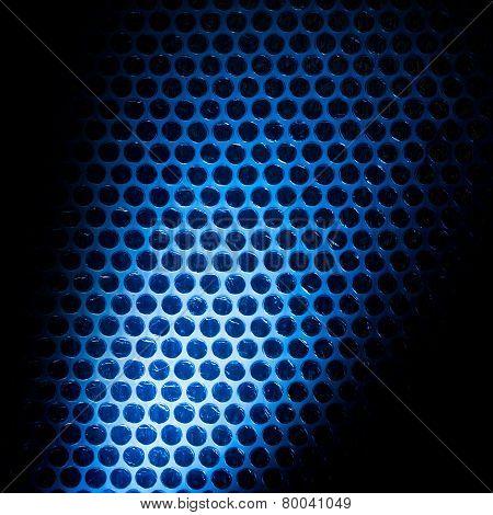 Bubble wrap lit by blue light