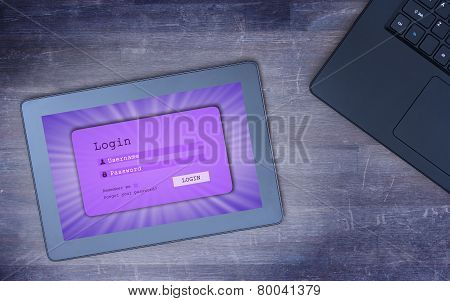 Login Interface On Tablet - Username And Password, Cold Blue Filter