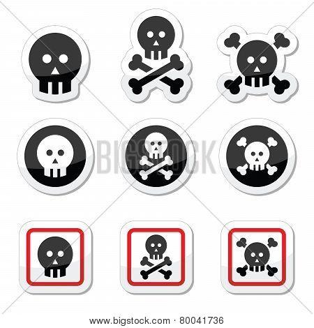 Death, skull with bones vector icons set