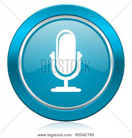 microphone blue icon podcast sign