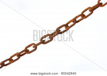 Old Rust Chain With White Background