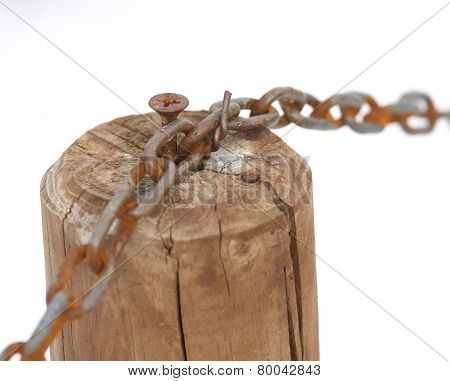 Chain With The Wooden Pole And White Background