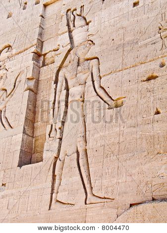 Egyptian God Horus, Carved In Temple Wall