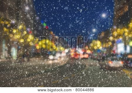 Snowing Night On City Streets