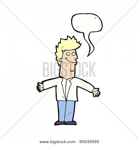 cartoon happy man with open arms with speech bubble