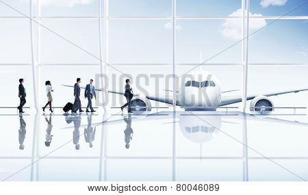 Airport Travel Business People Trip Transportation Airplane Concept