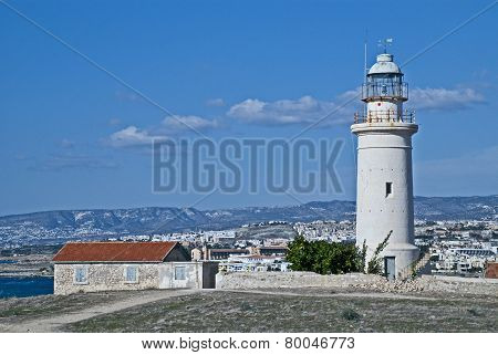 The Paphos Lighthouse Looking Out To The Mediterranean Sea At Paphos