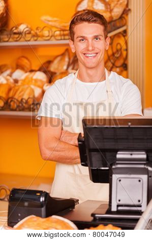 Cashier In Bakery Shop.