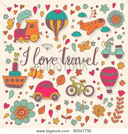 I love travel concept card in bright colors. Stylish background in vector